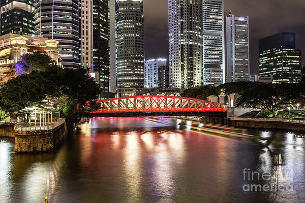 Photograph - Singapore River At Night With Financial District In Singapore by Didier Marti