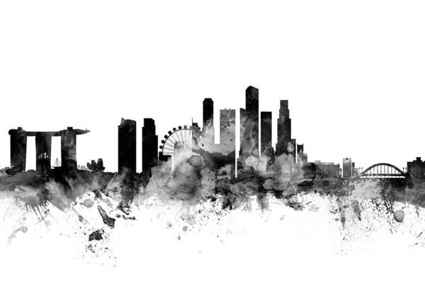 Skyline Wall Art - Digital Art - Singapore Skyline by Michael Tompsett