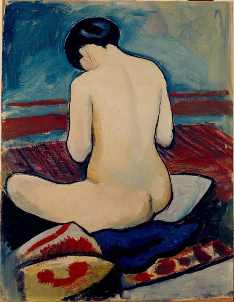 Painting - Sitting Nude With Pillow by August Macke