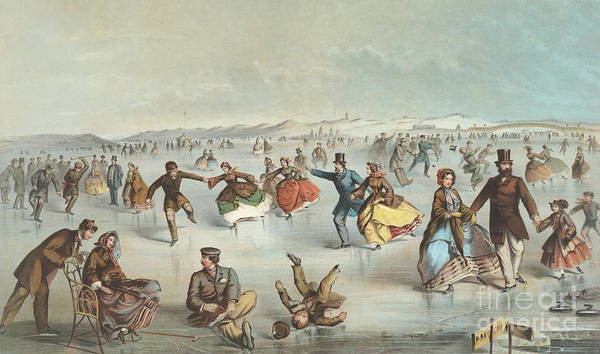 Wall Art - Painting - Skating In Central Park, New York by Winslow Homer