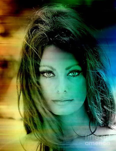 Wall Art - Mixed Media - Sophia Loren by Marvin Blaine