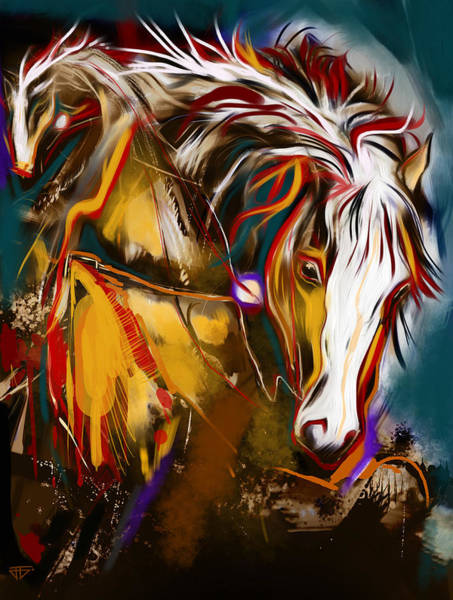 Painting - 2 Spirit Knights by John Jr Gholson