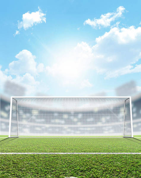 Daylight Digital Art - Sports Stadium And Soccer Goals by Allan Swart