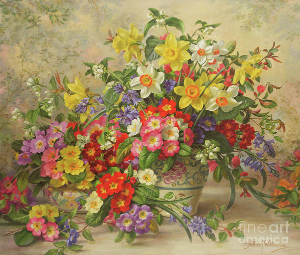 Daffodils Wall Art - Painting - Spring Flowers And Poole Pottery by Albert Williams
