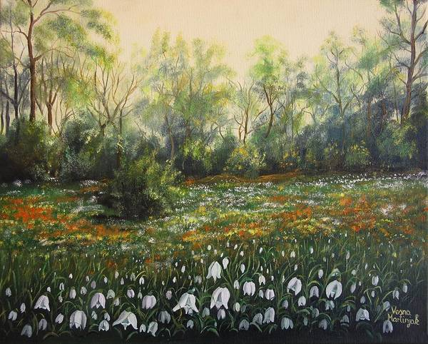 Snowdrop Painting - Spring by Vesna Martinjak