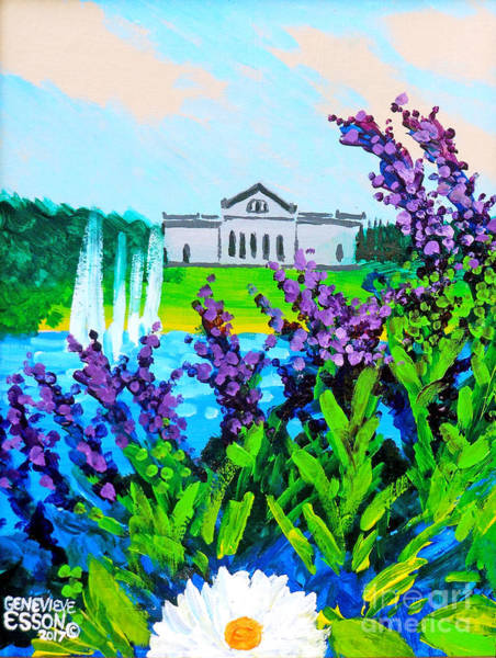 Wall Art - Painting - St. Louis Art Museum At Grand Basin With Flowers And Water Fountains by Genevieve Esson