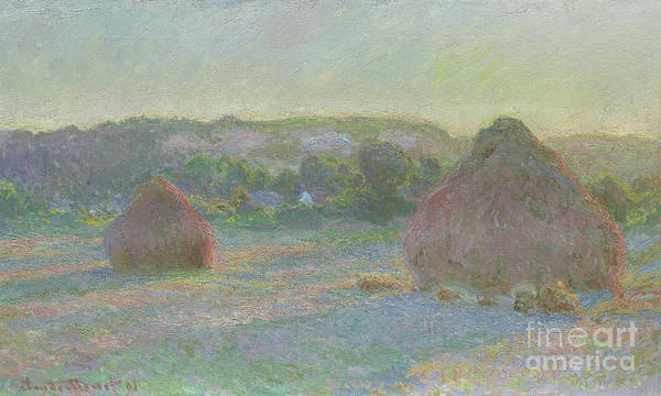 Wall Art - Painting - Stacks Of Wheat, End Of Summer by Claude Monet