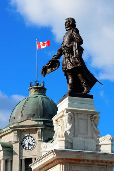Photograph - Statue In Quebec City by Songquan Deng