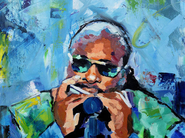 Live Music Painting - Stevie Wonder by Richard Day