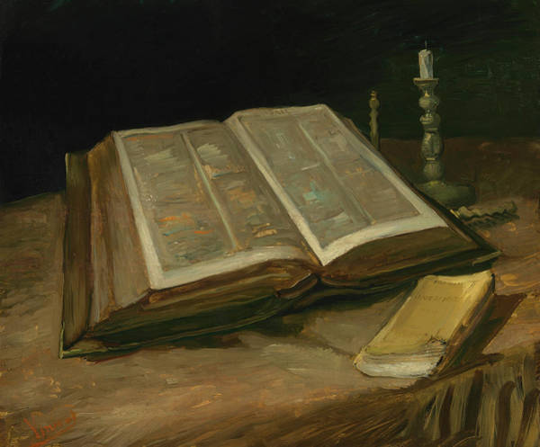 Painting - Still Life With Bible 1885 by Vincent Van Gogh