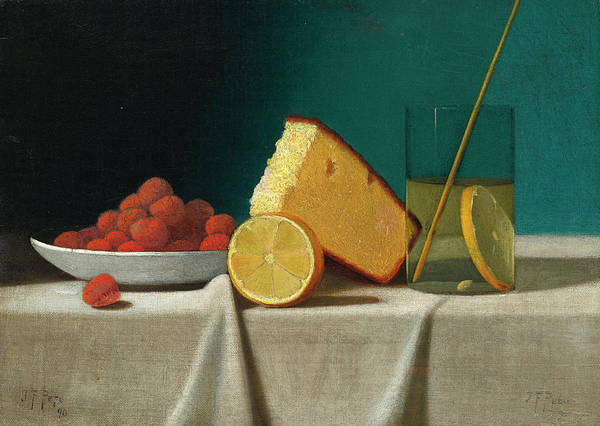 Cakes Painting - Still Life With Cake, Lemon, Strawberries, And Glass by John Frederick Peto