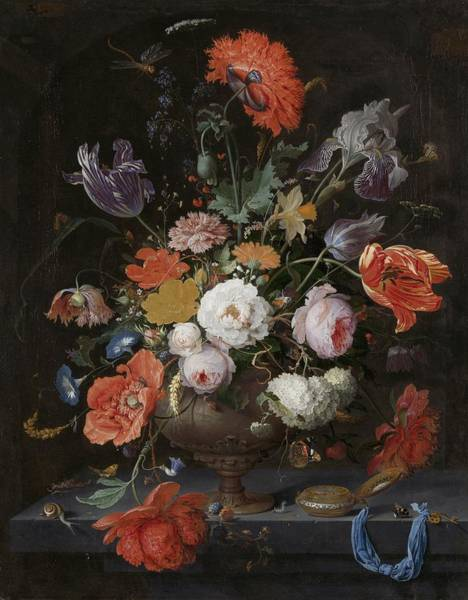 Painting - Still Life With Flowers And A Watch by Abraham Mignon