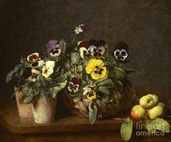 Wall Art - Painting - Still Life With Pansies by Henri Fantin-Latour