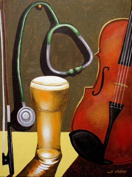 Wall Art - Painting - Still Life With Violin by John  Nolan