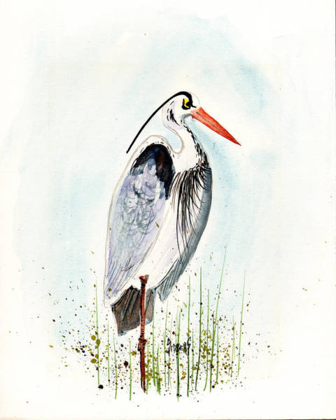Stork Painting - Jenifer's Friend - George #3 by Sam Sidders