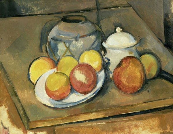 Apple Peel Painting - Straw-trimmed Vase, Sugar Bowl And Apples by Paul Cezanne
