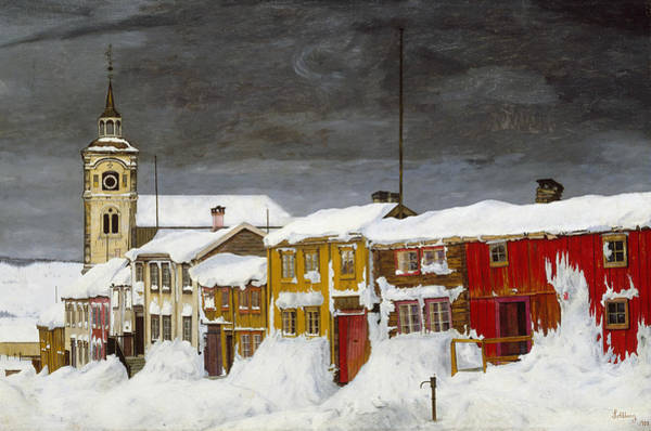 Painting - Street In Roros In Winter by Harald Sohlberg
