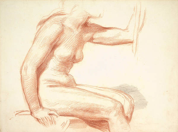 Wall Art - Drawing - Study Of A Female Nude, Seated by George Richmond