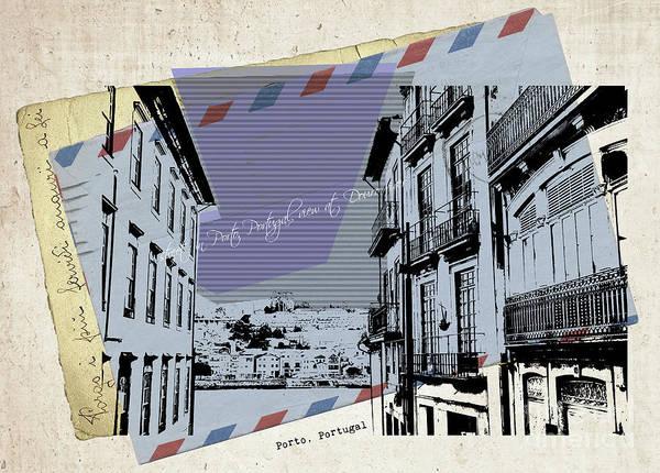 Digital Art - stylish retro postcard of Porto by Ariadna De Raadt