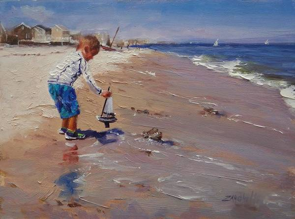 Wall Art - Painting - Nick And His Sailboat  by Laura Lee Zanghetti