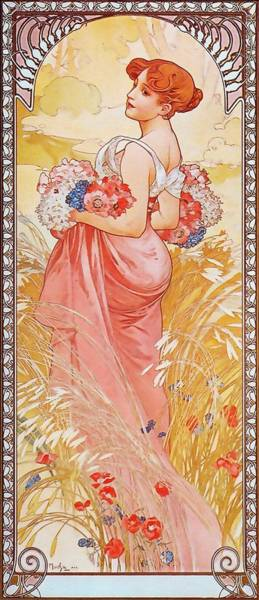 Painting - Summer by Alphonse Mucha