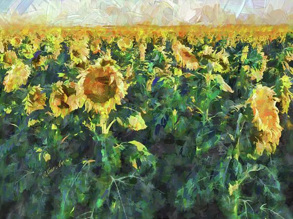 Digital Art - Sunflower Fields by OLena Art - Lena Owens