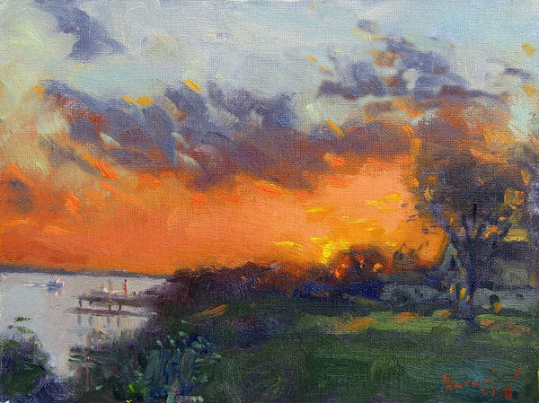 Wall Art - Painting - Sunset At Gratwick Waterfront Park by Ylli Haruni