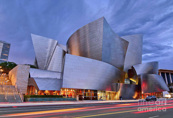 Stainless Steel Wall Art - Photograph - Sunset At The Walt Disney Concert Hall In Downtown Los Angeles. by Jamie Pham
