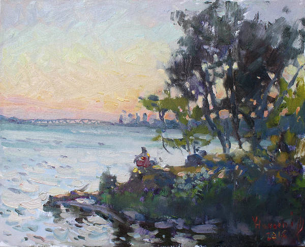 Wall Art - Painting - Sunset On Niagara River by Ylli Haruni