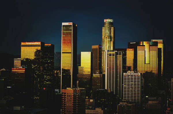 Wall Art - Photograph - Sunset Reflections On Los Angeles Skyline by Library Of Congress