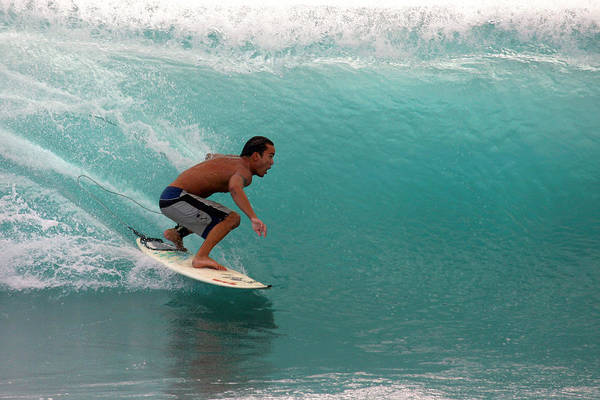 Photograph - Surfer Surfing Blue Waves At Dumps Maui Hawaii by Pierre Leclerc Photography