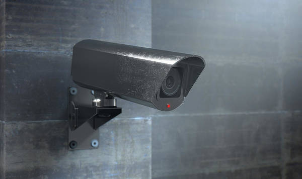 Wall Art - Digital Art - Surveillance Camera At Night by Allan Swart