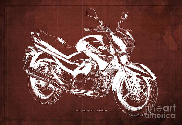 Wall Art - Photograph - Suzuki Inazuma 250 2012 Blueprint Original Art Print by Drawspots Illustrations