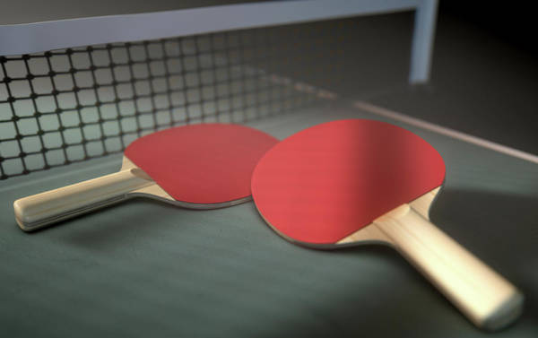 Ping-pong Digital Art - Table Tennis Table And Paddles by Allan Swart