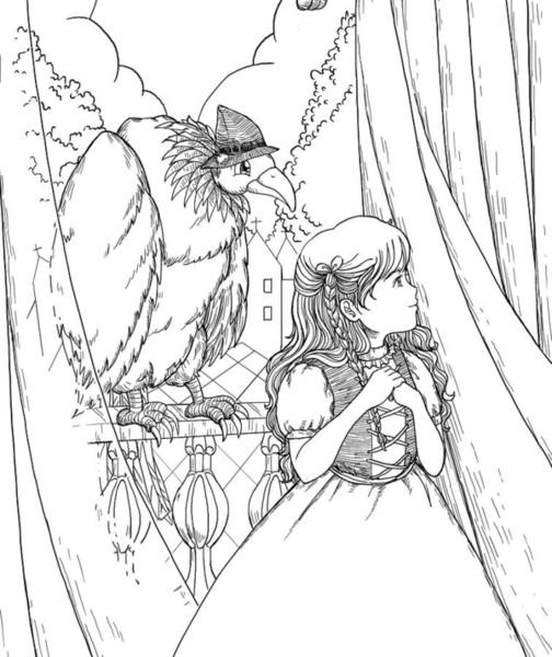 Drawing - Tammy And Polly On The Balcony by Reynold Jay