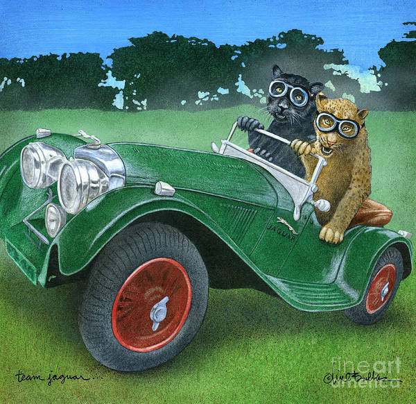 Car Show Painting - Team Jaguar... by Will Bullas
