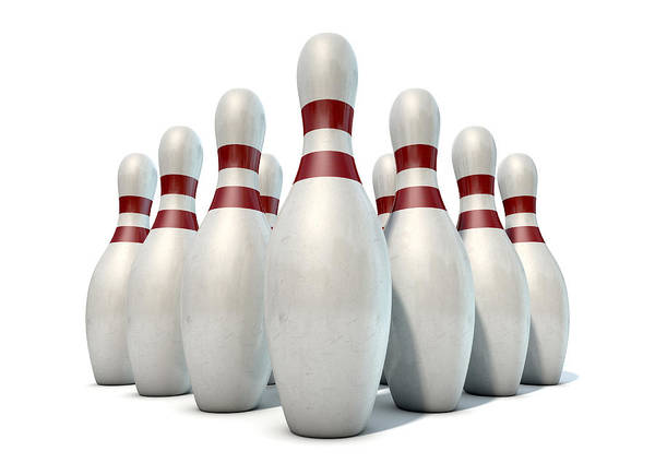 Ten Pin Bowling Wall Art - Digital Art - Ten Pin Bowling Pins by Allan Swart