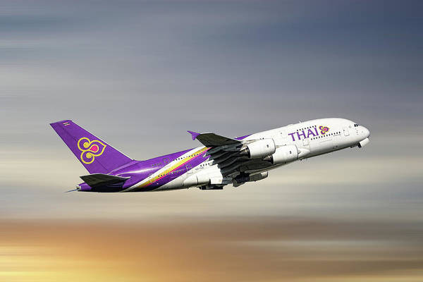 Thai Wall Art - Mixed Media - Thai Airways Airbus A380-841 by Smart Aviation