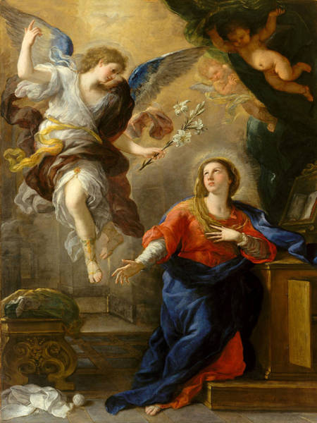 Photograph - The Annunciation  by Luca Giordano