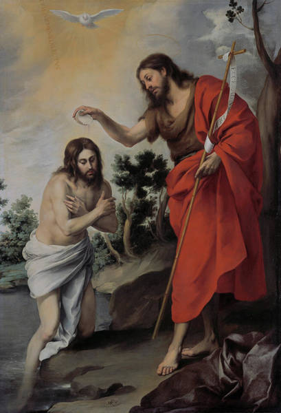 Initiation Painting - The Baptism Of Christ by Bartolome Esteban Murillo