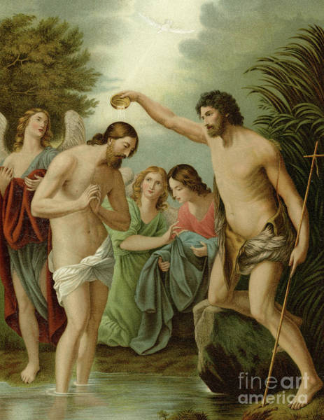 Ascension Painting - The Baptism Of Christ by Guido Reni