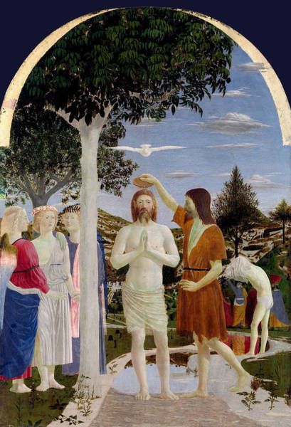 Redeemer Wall Art - Painting - The Baptism Of Christ by Piero della Francesca