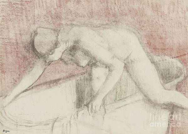 Tub Wall Art - Pastel - The Bath by Edgar Degas