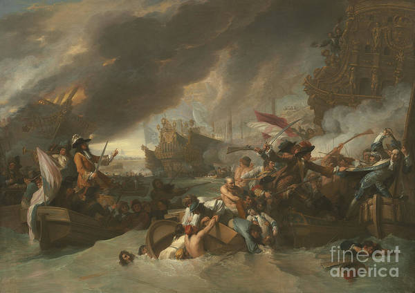 Wall Art - Painting - The Battle Of La Hogue by Benjamin West