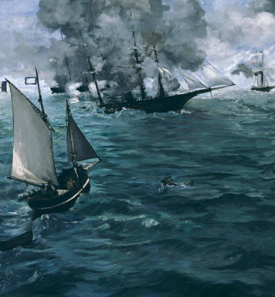 French Painter Wall Art - Painting - The Battle Of The U.s.s. Kearsarge And The C.s.s. Alabama by Edouard Manet