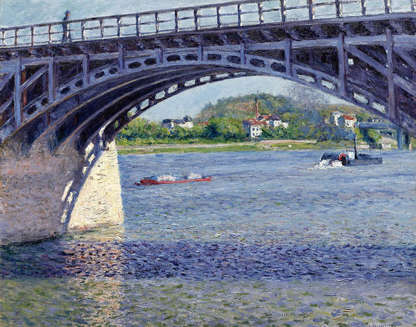 Painting - The Bridge At Argenteuil And The Seine by Gustave Caillebotte