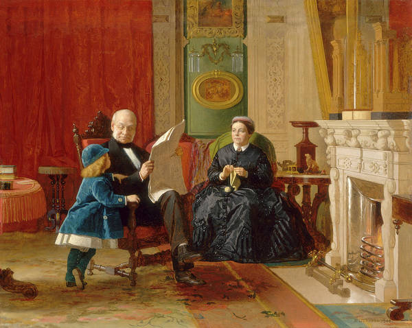 Painting - The Brown Family by Eastman Johnson
