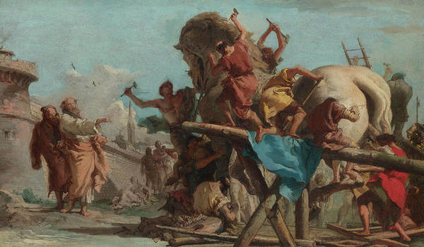 Penetrate Painting - The Building Of The Trojan Horse by Giovanni Domenico Tiepolo
