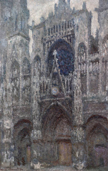 Portals Wall Art - Painting -  The Cathedral In Rouen, The Portal, Grey Weather by Claude Monet