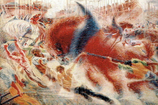 Boccioni Wall Art - Painting - The City Rises by Umberto Boccioni